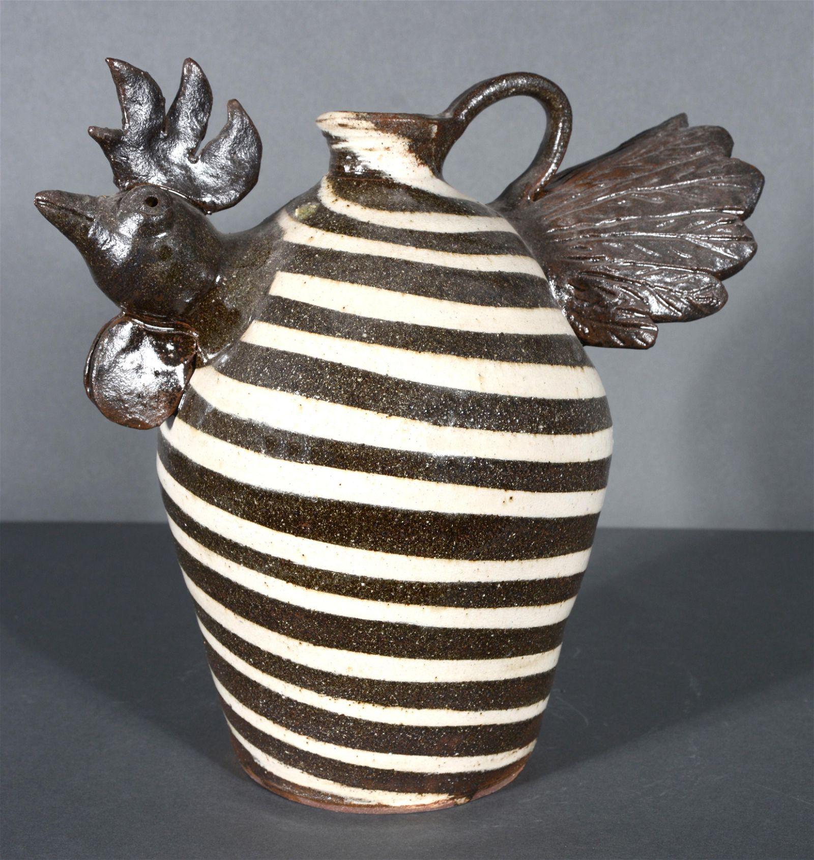 Albert Hodge. 2 Color Swirl Rooster Jug.