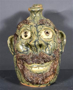 William Flowers. Face Jug With Goatee.