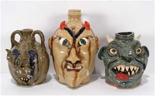 Teague, Ball & Dunning. 3 Devil Face Jugs.