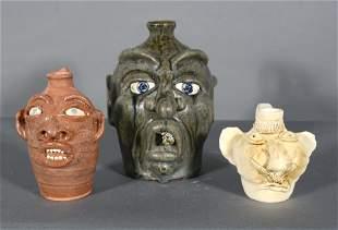 Crocker, Reinhardt. 3 Small Face Jugs.