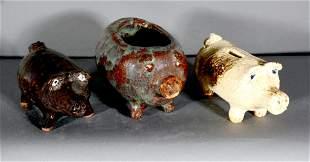 Marie Rogers. 3 Ceramic Pigs.
