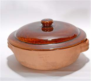 Brown Pottery. Face Jug & Cookware.