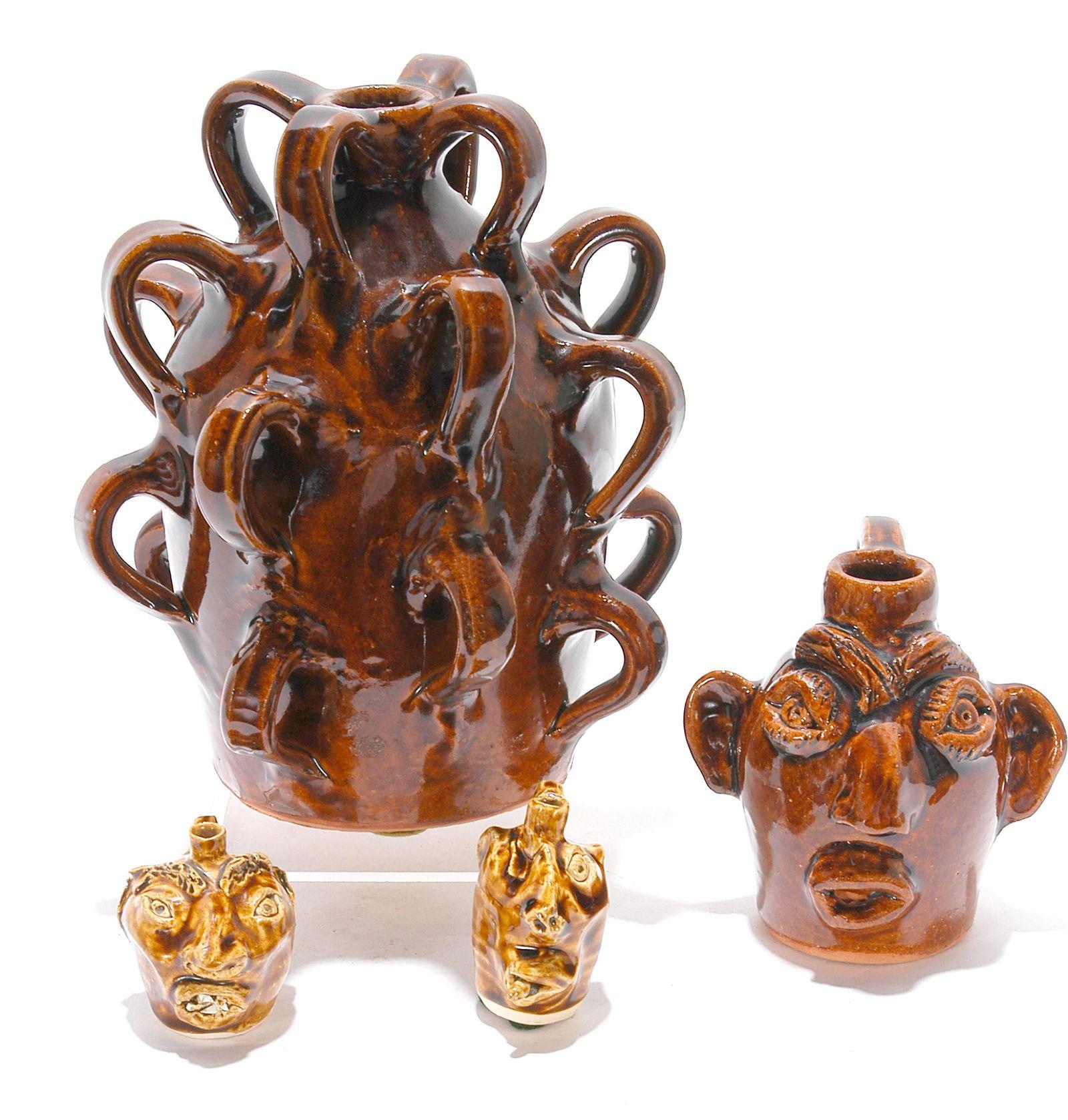 J. Brown Pottery. Drunk Jug & 3 Minis.