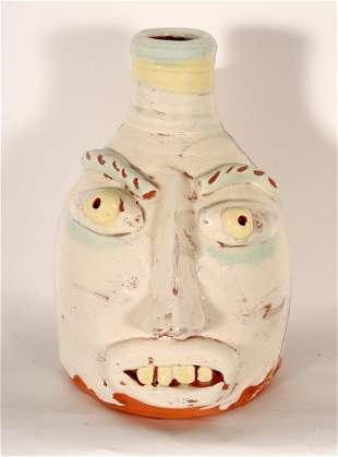 Flatland Pottery. White Face Jug.