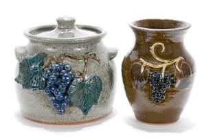 Crocker & A.Meaders. Grape Pot & Vase.