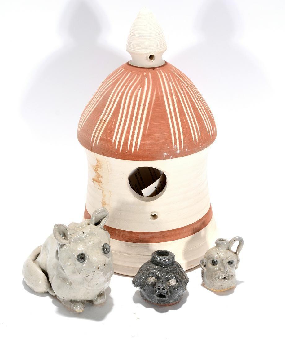 Crocker Pottery. Bird House & Minis.