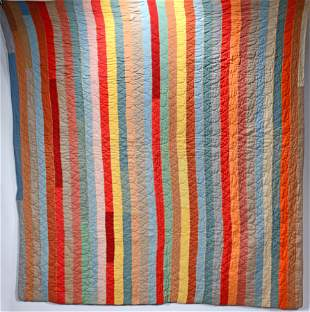 Rainbow Colored Strip Quilt.