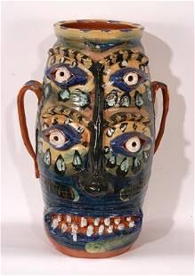 Flatland Pottery. Stylized Face Jug.