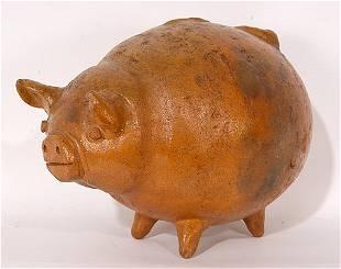 Anonymous Folk Pottery Piggy Bank.
