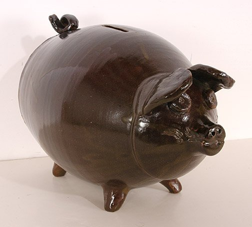 20: Allen Ham.  Folk Pottery Piggy Bank.