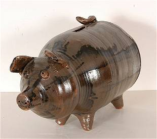 Miller's Pottery. Ceramic Folk Piggy Bank.