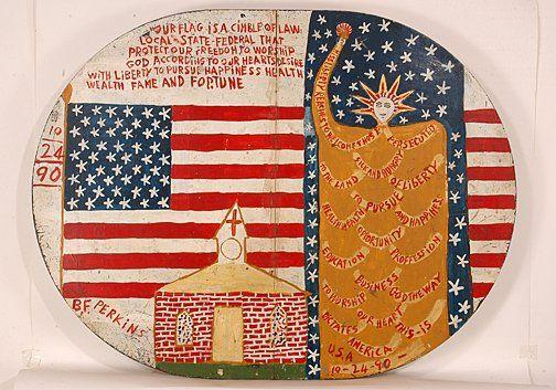 B.F. Perkins. Lg. Table w American Motif.