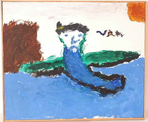 754: Unknown Artist. Blue Figure in Water.