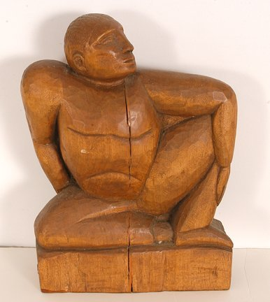764: Seated Man Wood Carving.