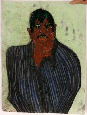 Ike Morgan. Man In Blue Shirt Pastel.