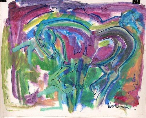 783: Neith Nevelson. Purple & Green Horses.