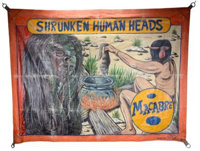 A.R.K. Macabre Shrunken Human Heads Banner.