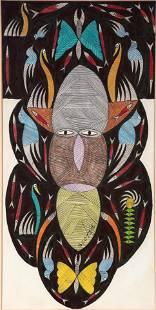 Scottie Wilson. Tribal Face With Blue Birds
