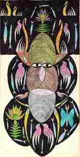 Scottie Wilson. Tribal Face On Black.