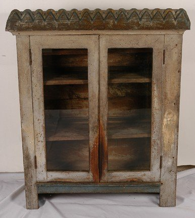 732: African Am. Furniture Glass-Front Keep Safe Hutch.
