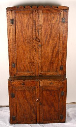 735: Anonymous Furniture Curly-Maple Cabinet Hutch.