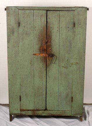 736: Primitive Wooden Food Cabinet.