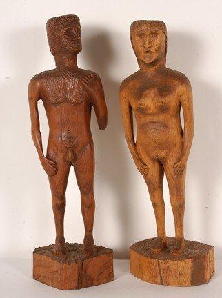 820: Adam & Eve Carved Figures.