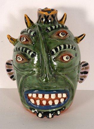 3: Carl Block - Flatland Pottery. Green Devil Face Jug.