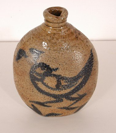 5: Anonymous.  Salt-glaze Cobalt Décor Bottle.