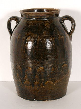 7: Sand Mountain Pottery.  2-Gal. Decorated Crock.