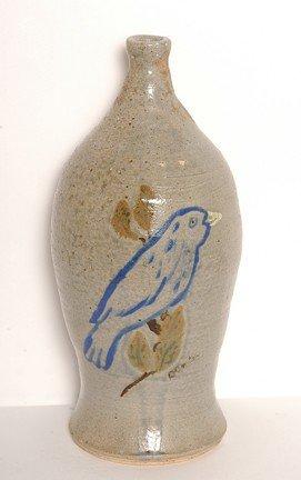 47: David Meaders Blue Bird Lamp Base.