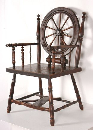 165: Early Spinning Wheel Chair. - 2