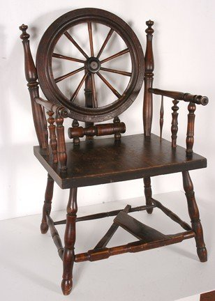 165: Early Spinning Wheel Chair. - 3