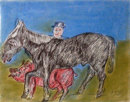 733: S.L. Jones Black Horse, Red Pig, Man.