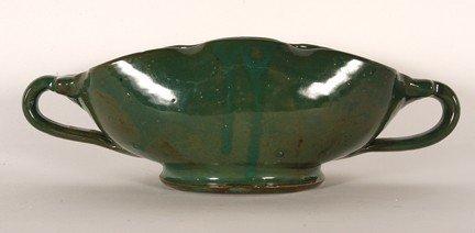 1: GA Art Pottery. Large Scalloped Green Bowl.