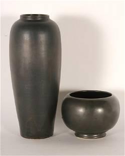 W.J. Gordy. Gun Metal Black Glazed Vase & Bowl.