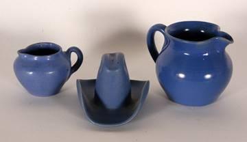 GA Art Pottery. 3 Works In Blue Glaze.