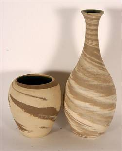 W.J. Gordy. Pair of Two-Color Swirl Vases.