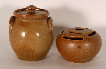 8: W.J. Gordy. Pair of Works In Brown Glaze.