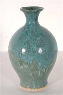 King Pottery. Robin Egg Blue Vase.