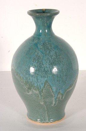 12: King Pottery.  Robin Egg Blue Vase.