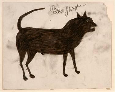 118: Bill Traylor. Black Dog w Signature.