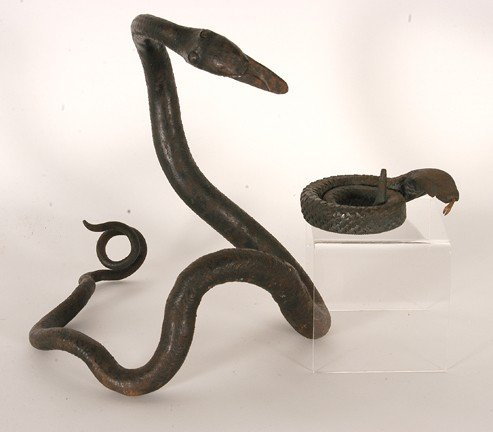 875: Pair of Hand-Forged Iron Snakes.