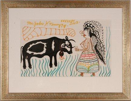 969: John H. Toney. Black Bull w Woman.