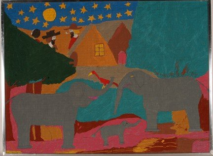 986: Floretta Warfel. Elephants.