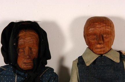 1071: PollyPage. Carved Folk Art Dolls. - 3