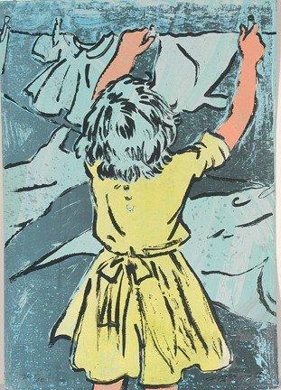 1085: David Bromley. Girl Hanging Laundry.