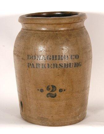 Donaghho Co. Parkersburg.  Salt-Glazed Crock.