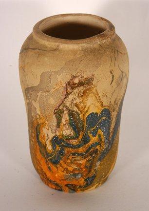 Unknown Potter.  Psychedelic Glaze Vase.