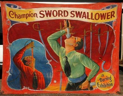 Neiman Eisman (attrib). Sword Swallower.